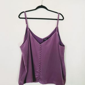 Madewell Purple Silk Button Front Cami